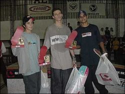 Podium do amador 1: Danilo (primeiro), Pingo (segundo) e Leandro (terceiro).