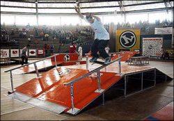 Jackson Kleber foi um dos profissionais que se apresentaram no evento, nollie noseslide.