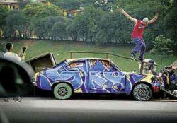 I Desafio de Rua (carro): Biano encaixava de fifty e depois passava para smithgrind.