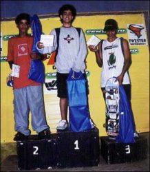 Pódio Iniciante: Elipse (segundo), Jack (primeiro) e Tiago (terceiro)