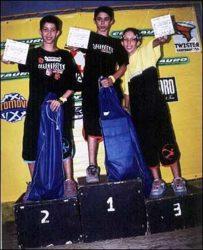 Pódio mirim: Coiote (segundo) , Joao (primeiro) e Jeferson (terceiro)