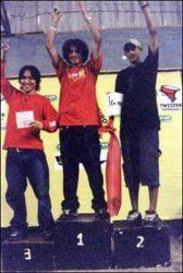 Ranking final do amador 1: Hiroshi (terceiro), Cascão (campeão) e Sobral (segundo)