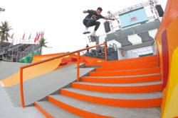 Nyjah: Flip Bs smith grind .Foto: Julio Detefon
